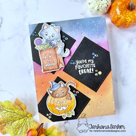 Cat Halloween card by Farhana Sarker | Trick or Treat Kittens Stamp Set and Slimline Frames and Windows Die Set by Newton's Nook Designs #newtonsnook #handmade