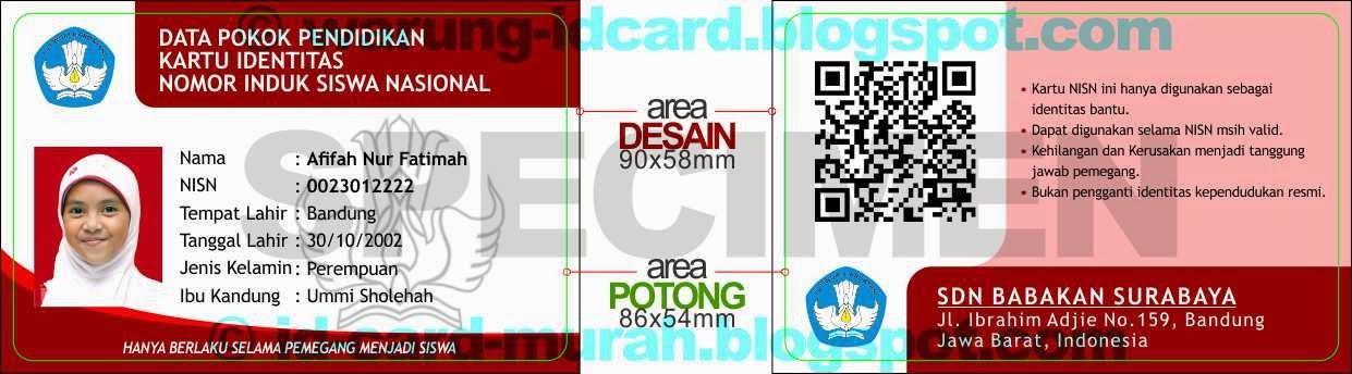 cetak kartu pelajar siswa nisn qrcode murah bandung id card plastik pvc atm