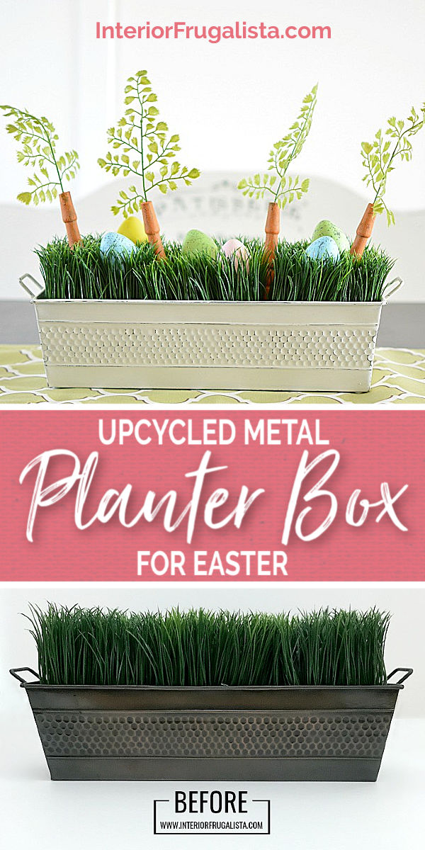 An upcycled Easter centerpiece box with faux wheatgrass, chair spindle carrots, and DIY speckled eggs for a fun budget Easter table decoration idea. #wheatgrasscenterpiece #tablecenterpiece #eastercenterpiece #springcenterpiece