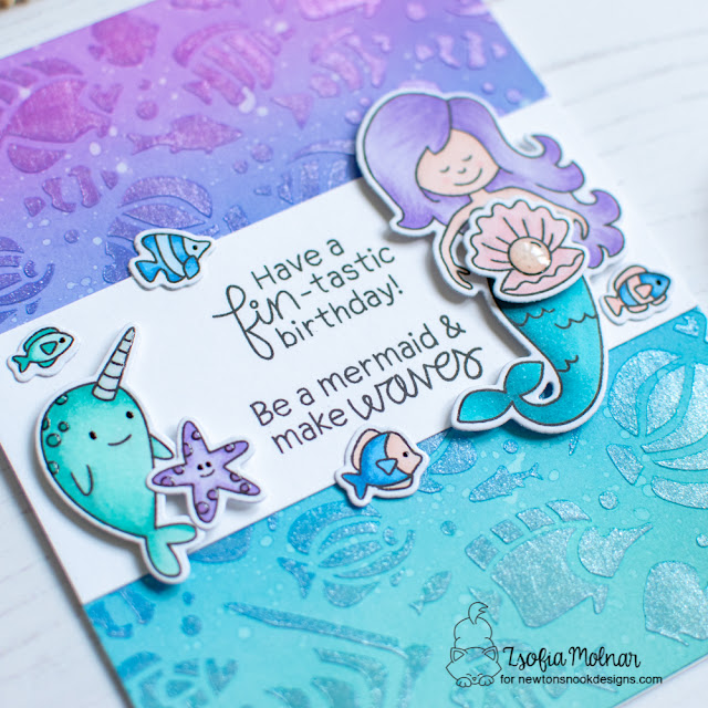 Fin-tastic Birthday Card by Zsoifa Molnar | Narly Mermaids Stamp Set and Tropical Fish Stencil by Newton's Nook Designs #newtonsnook #handmade