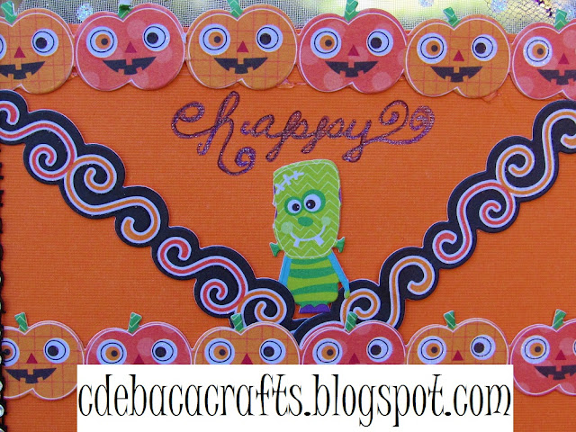 Happy halloween handmade card with pumpkins and monsters featured on CdeBaca Crafts blog.