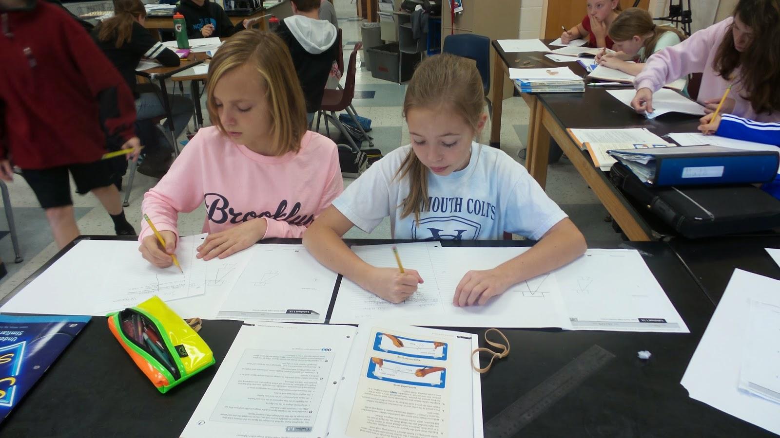 7th Grade Math Students Creating Rubber Band