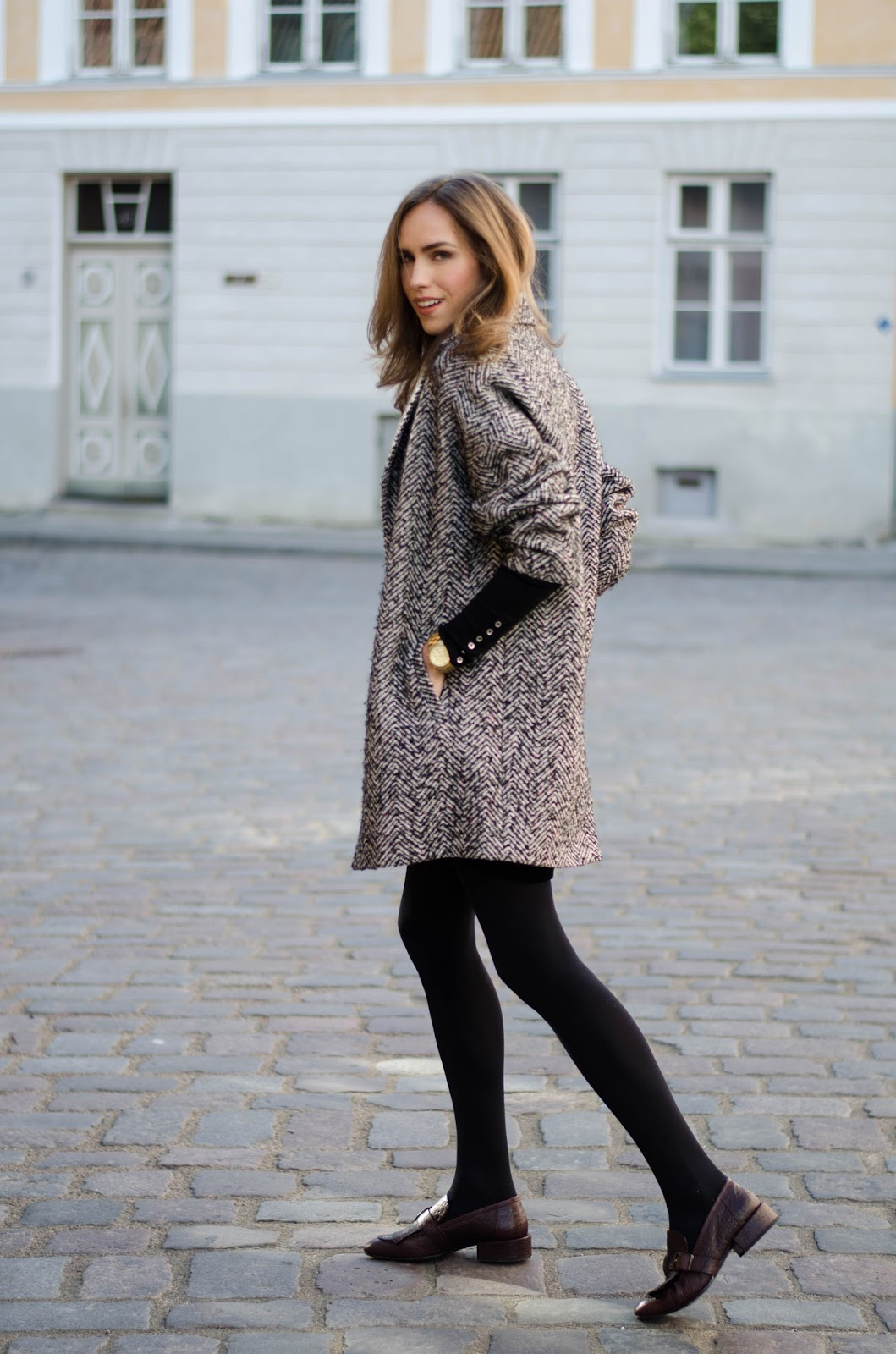 houndstooth coat burgundy loafers fall outfit