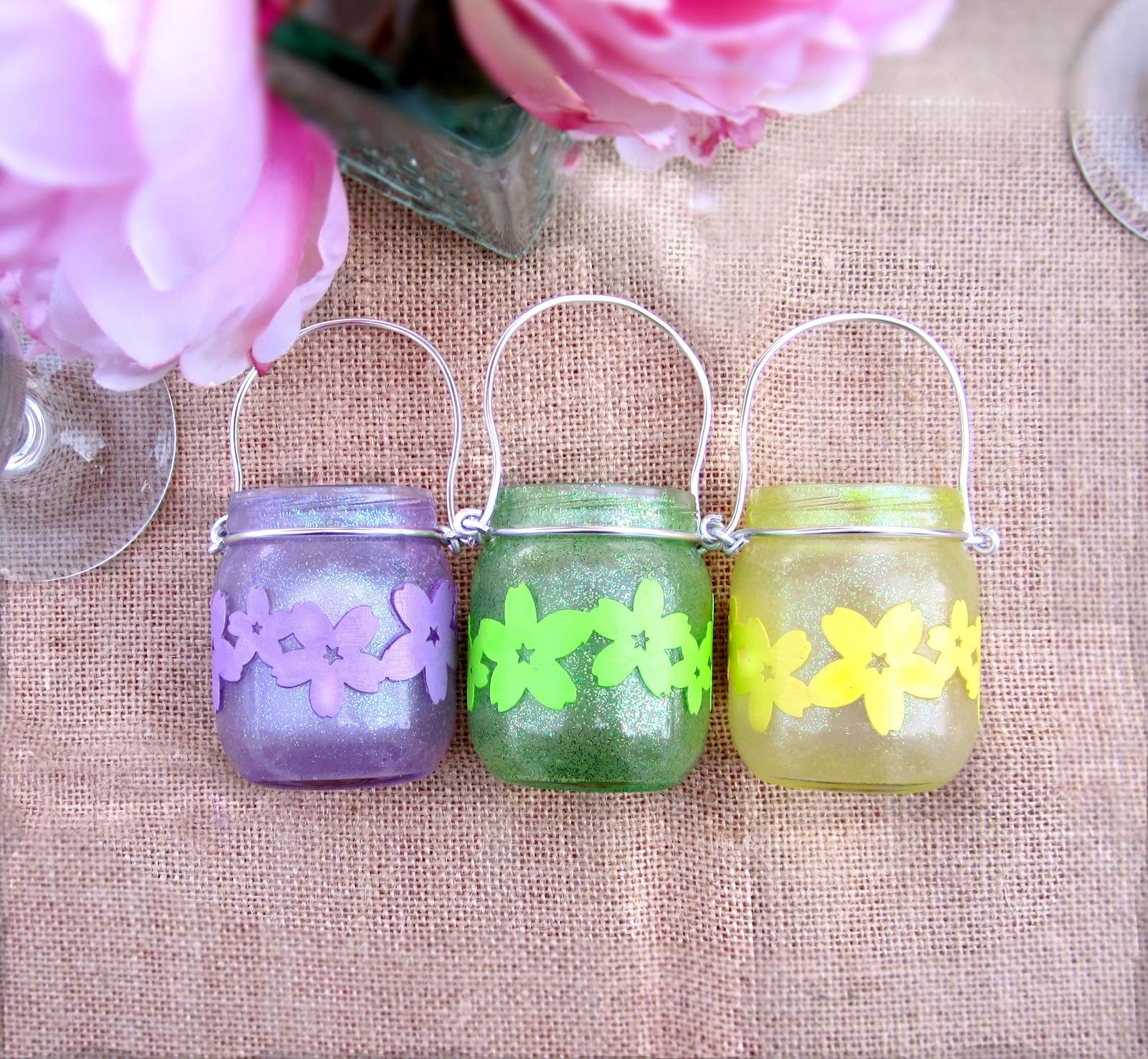 365 Designs Mini Mason Jar Tea Light Candle Holders With Glitter