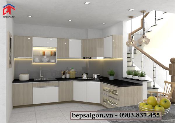 tủ bếp hiện đại, tủ bếp acrylic, tủ bếp thông minh