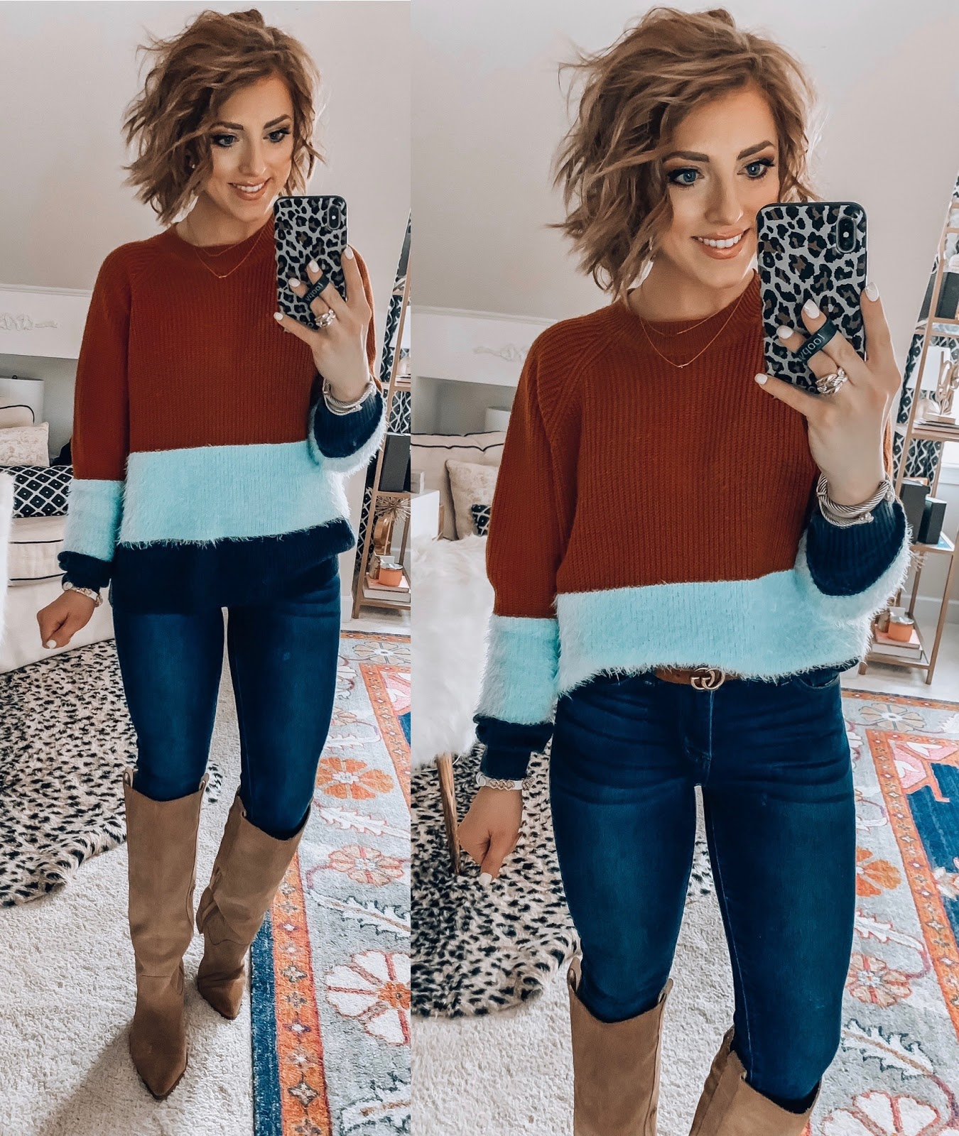 Recent Amazon Finds - Under $30 Brown and Blue Color block Sweater - Something Delightful Blog #AmazonFashion #RecentFinds #Hearts #ValentinesDay #AffordableFashion