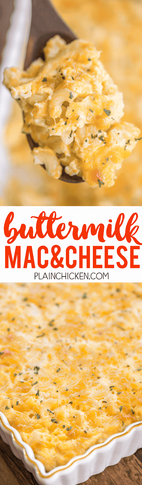 Buttermilk Mac and Cheese - CRAZY good!!! Only 5 ingredients! I wasn't sure how I would like the buttermilk, but it was SO good! Eggs, cheddar cheese, buttermilk, butter, macaroni. Can make ahead and freezer for later. Everyone RAVES about this yummy side dish recipe!