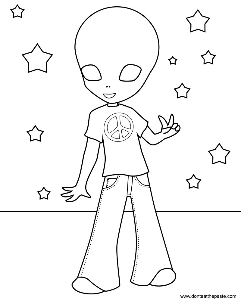 Small peace sign coloring pages ~ Don't Eat the Paste: Hippie Alien Coloring Page