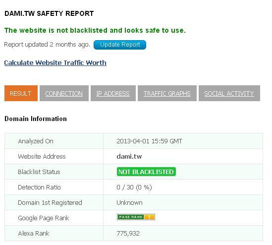 URLVoid檢測網站是否安全、是否有病毒、木馬、釣魚網站等是否有異狀