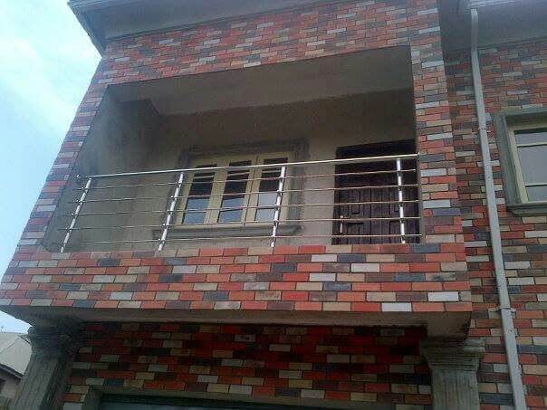 exterior balcony decoration with eco bricks