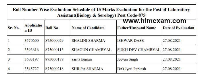 HPSSC Hamirpur Laboratory Assistant(Biology & Serology) Post Code-875 Roll Number Wise Evaluation Schedule 2021