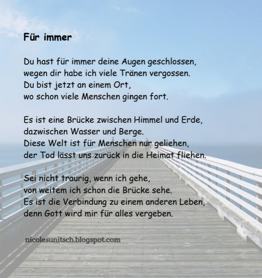 Gedichte Von Nicole Sunitsch Autorin Fur Immer Trauergedicht