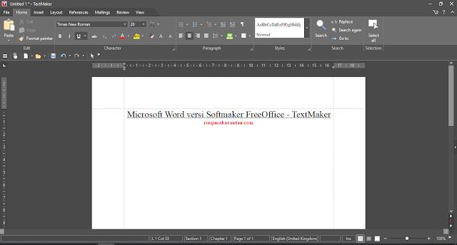 Tampilan SoftMaker FreeOffice - TextMaker