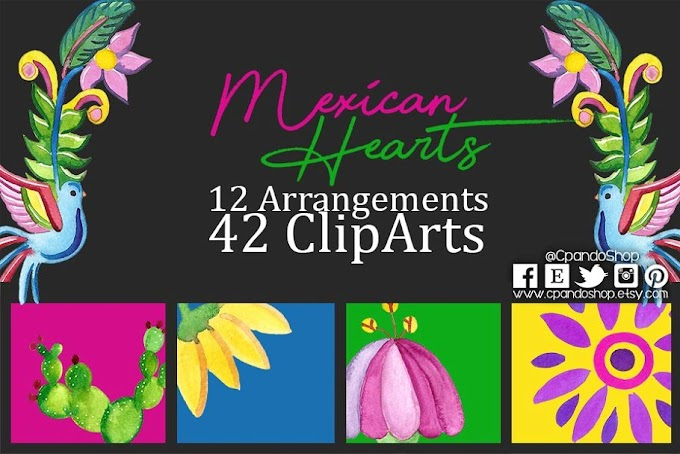 Valentine's Day Mexican Hearts Clipart Digital Paper