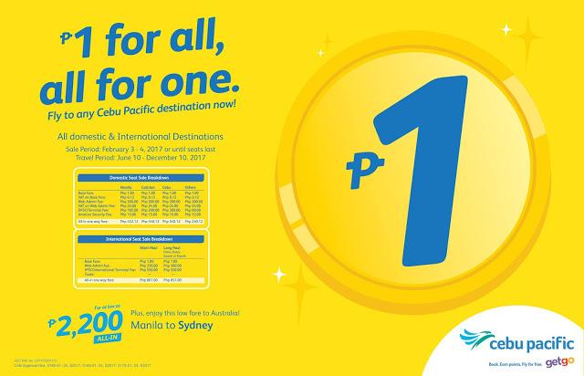 Promo Alert! Cebu Pacific Air's PISO FARE is back - Domestic and International Destinations