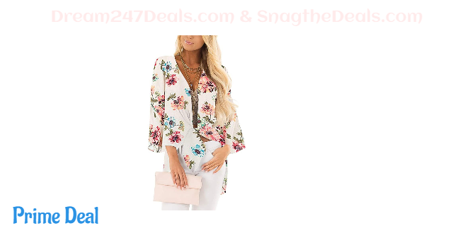 40% OFF Womens Floral Print Summer Kimono Cardigans Sheer Chiffon Loose Beach Cover Up Tops