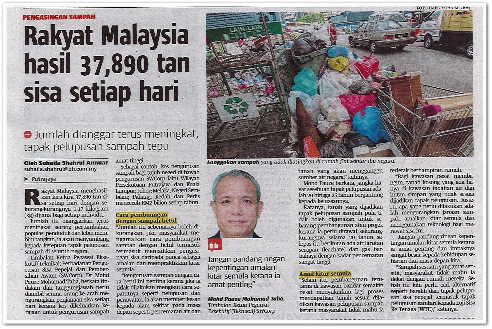 Rakyat Malaysia hasil 37,890 tan sisa setiap hari - Keratan akhbar Berita Harian 11 Jun 2019