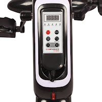 LCD display, shows time, distance, speed, calories, scan