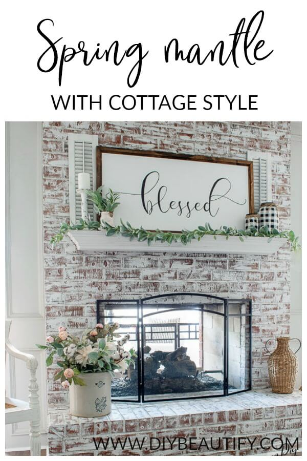 whitewashed fireplace and Spring mantle