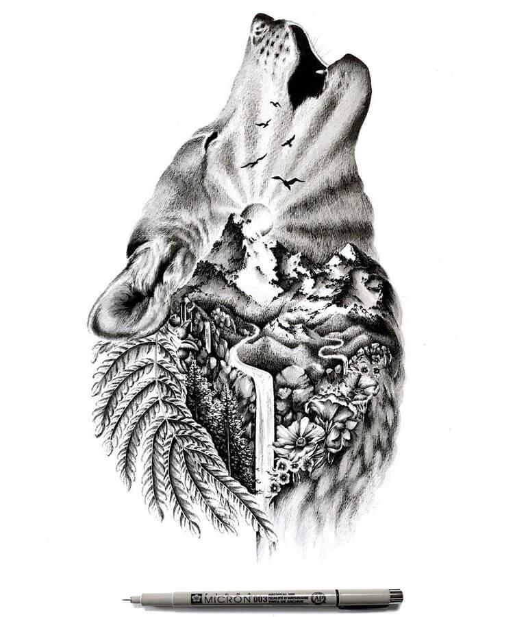 05-Wolf-Howling-Alyse-Dietel-Animal-Drawings-Surrealism-www-designstack-co