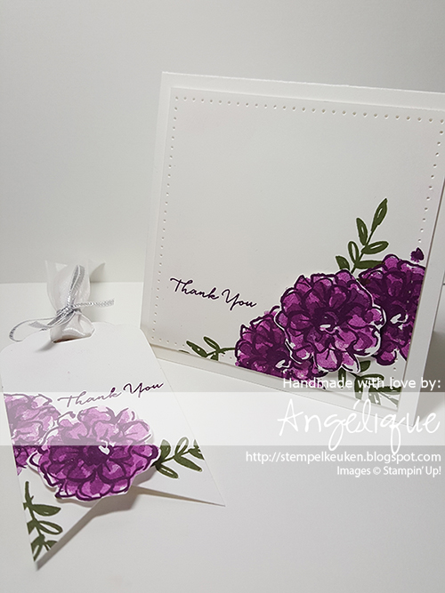 http://stempelkeuken.blogspot.com De Stempelkeuken Blackberry Bliss, Mossy Meadow, Piercing Mat, Piercing Tool, Updated Essentials Paper piecing, What I Love, Whisper White Thick Cardstock, Wink Of Stella