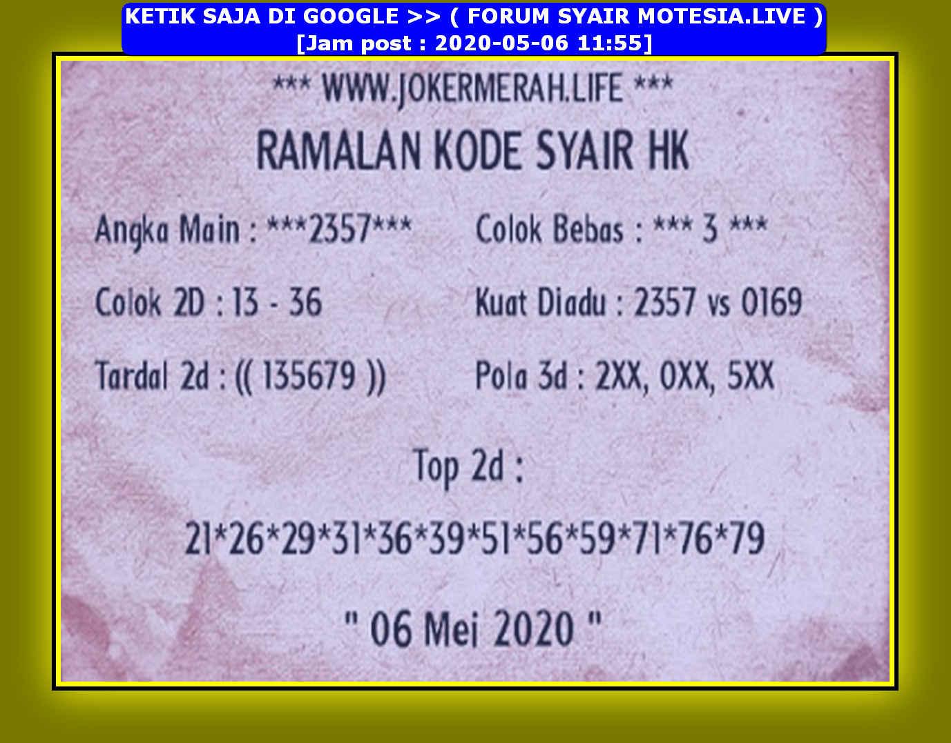 Kode syair Hongkong Rabu 6 Mei 2020 144