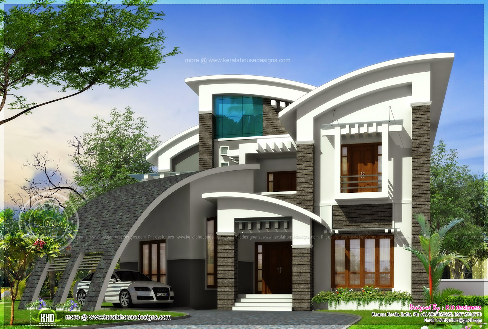 Super luxury ultra modern house design kerala home for Luxury farmhouse plans