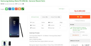 Harga baru Samsung Galaxy Note FE Garansi Resmi SEIN di Tokopedia - Sukma Phone