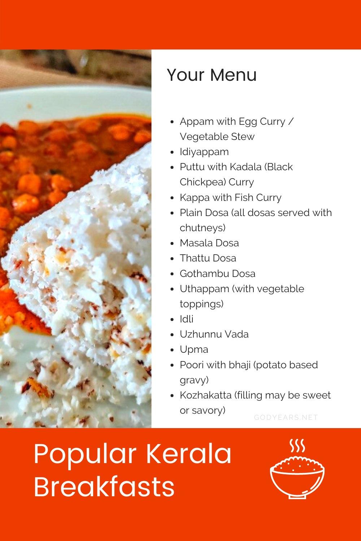 A list of popular kerala breakfasts