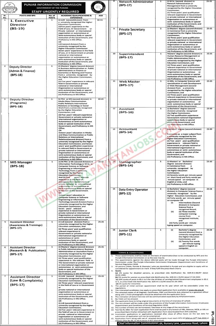 RTI Punjab, Punjab Information Commission Jobs 2019 NTS Application form