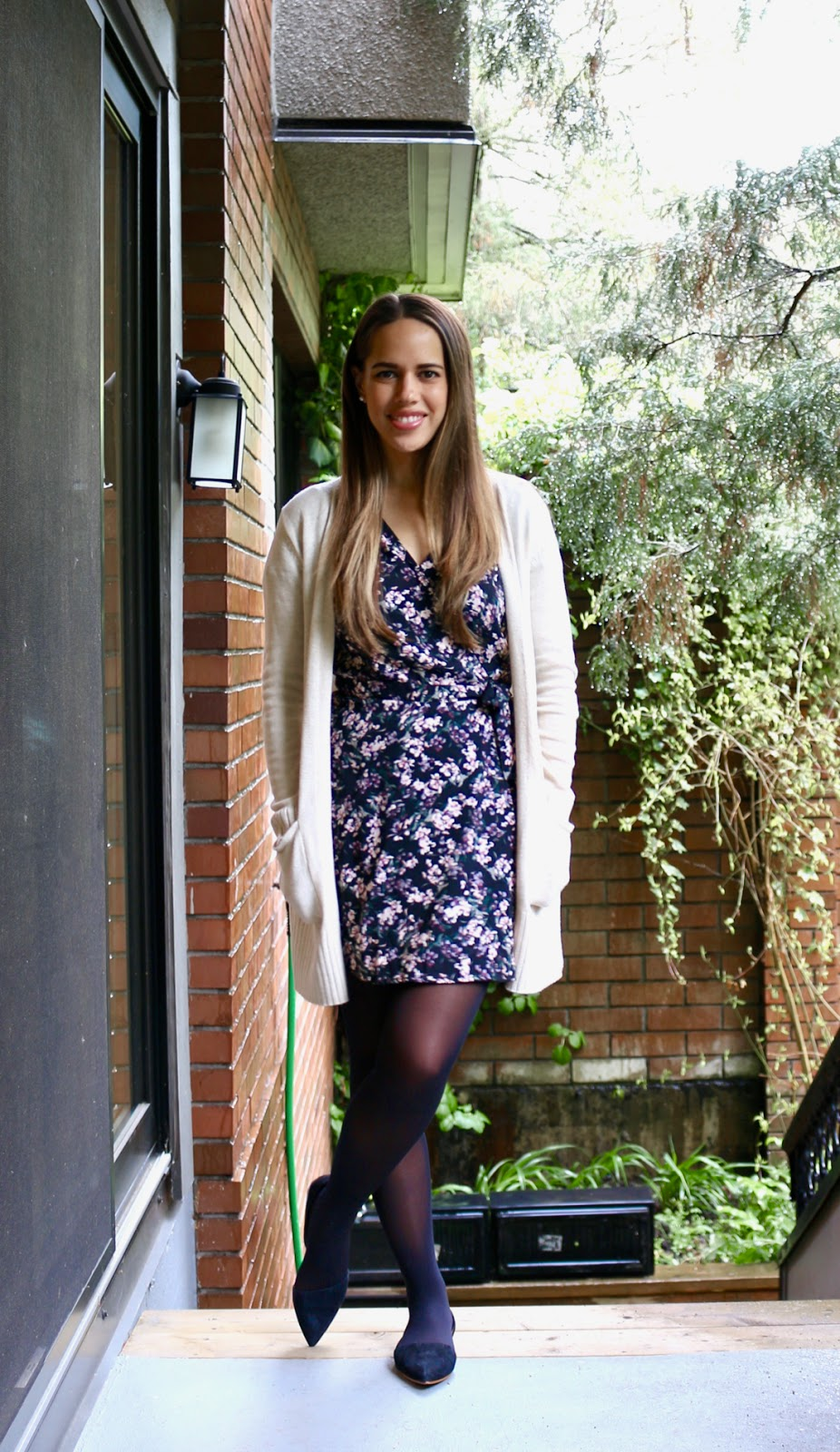 Jules in Flats - Floral Wrap Dress with Cardigan (Business Casual Spring Workwear on a Budget)