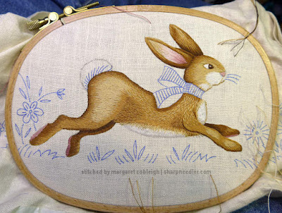 Embroidered Easter Table Runner: Easter Bunny--done for now