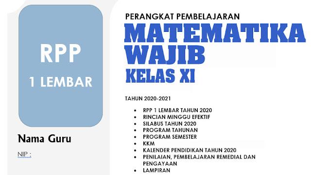 RPP 1 LEMBAR MATEMATIKA WAJIB KELAS XI REVISI 2020