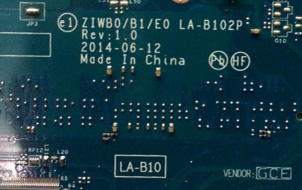 LA-B102P Rev 1.0 ZIWB0 B1 E0 Lenovo B50 Celeron N2830 Bios