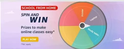 Amazon School From Home Spin and Win Quiz Answers & Win Prizes to make Online Classes easy