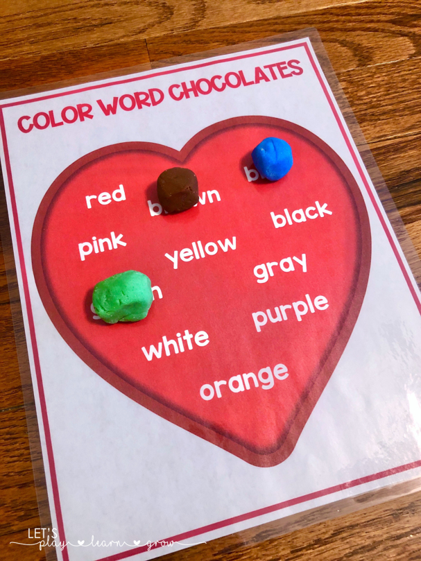 Color Word Valentines Activity for Preschool