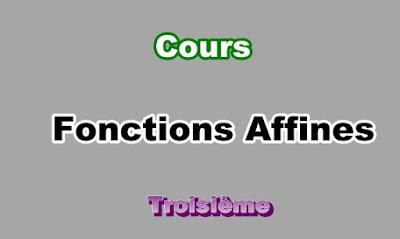 Cours Sur Les Fonctions Affines 3eme en PDF