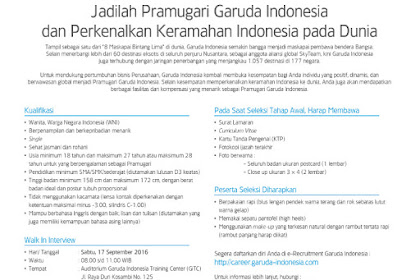 Rekrutmen Pramugari Garuda Indonesia