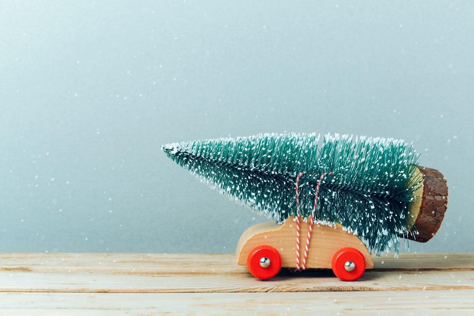 macchina, legno, pino, albero di natale