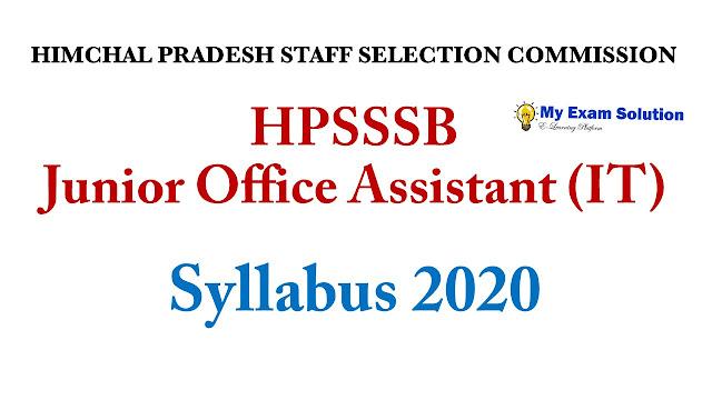 HPSSSB Junior Office Assistant Syllabus ; Junior Office Assistant Syllabus 2020