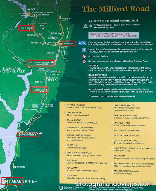 mapa carretera de Milford sound