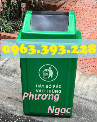 Thùng rác nhựa nắp bập bênh, thùng rác 60 Lít nắp lật, thùng rác công cộng NBB60L6