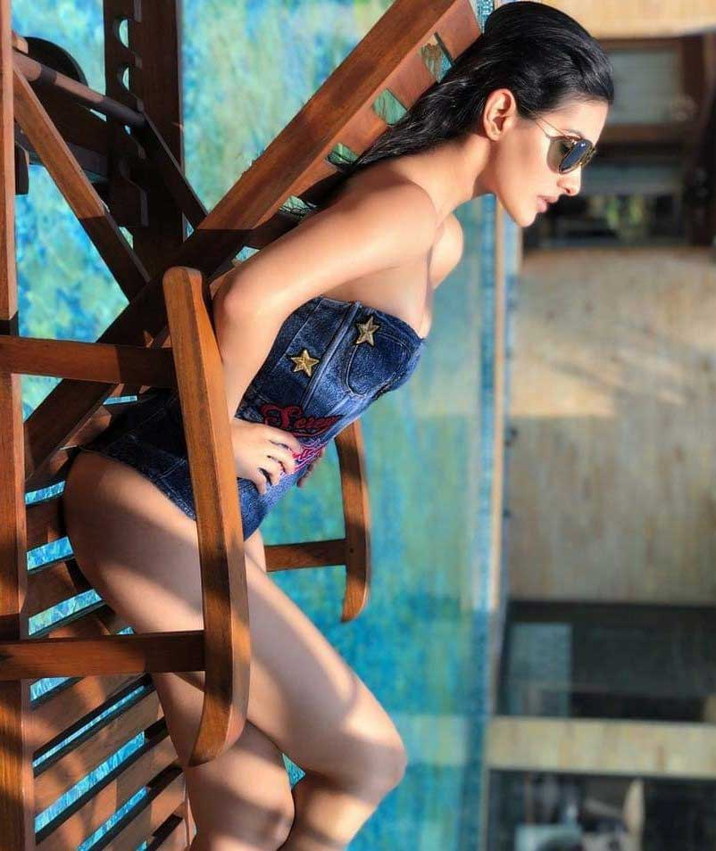 Amyra Dastur Hot and Sexy in blue Swimsuit Bikini