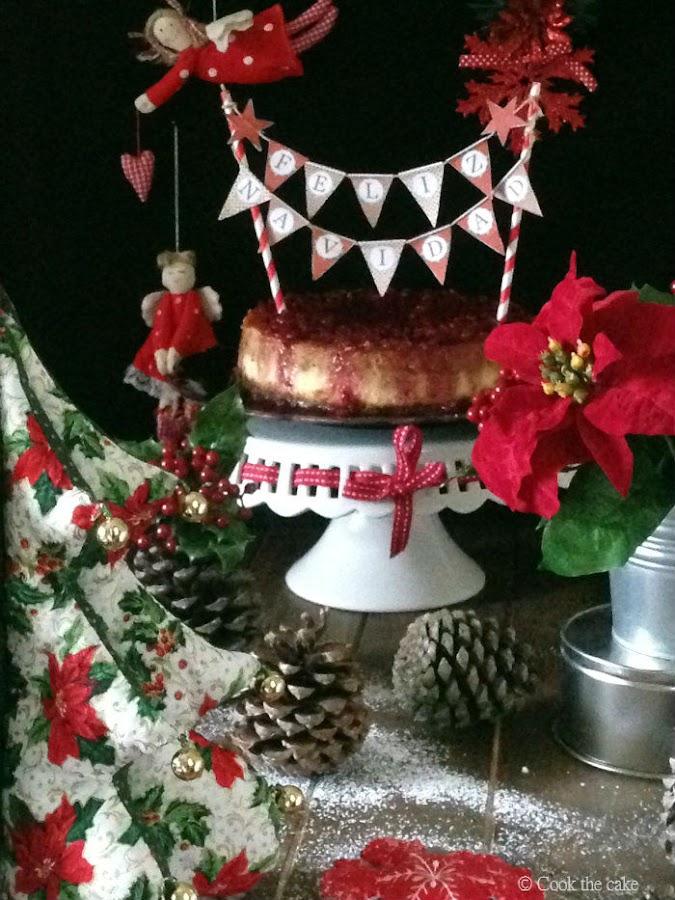 cheesecake navidad, Christmas cheesecake, speculoos, mazapan