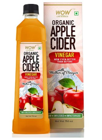 WOW Organic Raw Apple Cider Vinegar - with strand of mother - Not from concentrate - 750mL