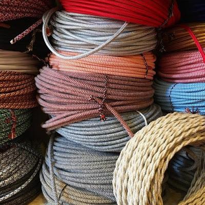 Câble Électrique Textile Tissu Torsadé Vintage Pour Restauration