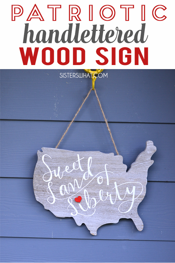 easy DIY patriotic hand lettered wood sign using heat transfer vinyl and silhouette cutting machine or cricut