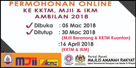Permohonan Kemasukan Ke Kolej Kemahiran Mara Kktm Mjji Dan Ikm Sesi Mei Julai 2018 Kini Dibuka Mypendidikanmalaysia Com