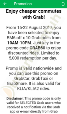 Grab Promo Code Malaysia Mobile App Message Discount