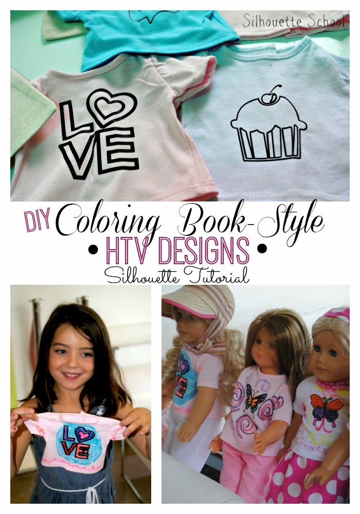 HTV, heat transfer vinyl, coloring book, Silhouette tutorial, Silhouette Studio